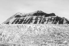 Gletsjer en montain op de achtergrond in Svalbard, Spitsbergen royalty-vrije stock foto