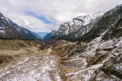 Gletsjer en sneeuwberglandschap Stock Foto's