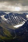 Gletsjer en valleien in Jotunheimen Stock Foto