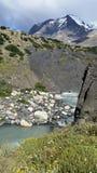 Gletsjer-gevoede stroom onder Torres del Paine snow-capped pieken Royalty-vrije Stock Foto's