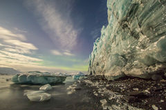 Gletsjer in maanlichten Stock Foto's