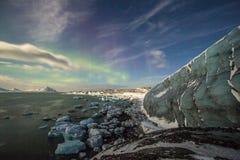 Gletsjer in maanlichten Royalty-vrije Stock Afbeeldingen