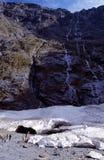 Gletsjer in Nationaal Park Fiordland.   stock fotografie