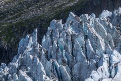 Gletsjer van argentiere, chamonix, haute Savoie, Frankrijk stock fotografie