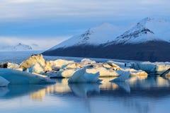 Gletsjerlagune in Oost-IJsland, aard Royalty-vrije Stock Foto's