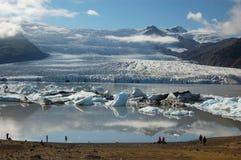 Gletsjers en ijsbergen, IJsland Stock Afbeelding