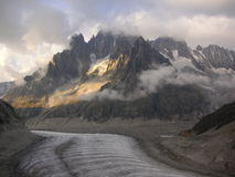 Gletsjervallei Mer DE Glace in het hooggebergte Royalty-vrije Stock Foto's
