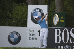 GLF: European Tour BMW PGA Championship. WENTWORTH, ENGLAND. 24 MAY 2009.Paul Casey teeing off on the 18th on his way to winning  playing in the final round of Royalty Free Stock Photography