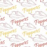 Glühende Paprikapfeffer-Skizzenzeichnungsillustration Nahtloses Muster Würziger Hintergrund Lizenzfreie Stockfotografie