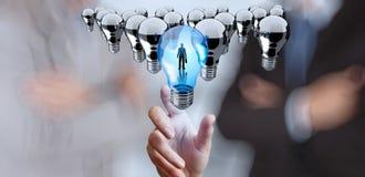 Glühlampe der Handreichweite 3d der Führung Stockfotos
