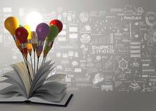 Glühlampe des Zeichnungsideenbleistifts und Geschäftsstrategie des offenen Buches Stockfotos