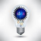 Glühlampe und Gänge, Mechanismusarbeit für Ideenkonzept Stockbild