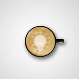 Glühlampe Zeichnung Latte Art Coffee Cup Lizenzfreies Stockbild