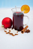 Glühwein on snow background Royalty Free Stock Images