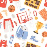 Gli abiti sportivi e la palla di vettore di pallacanestro in cerchio netto sull'insieme dell'illustrazione del campo da pallacane illustrazione vettoriale