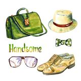 Gli accessori bei messi, colore verde aggiusta la borsa, i vetri, le scarpe di cuoio gialle di balmoral del dito del piede del ca illustrazione vettoriale