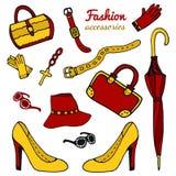 Gli accessori delle donne della raccolta Insieme di modo Vettore disegnato a mano isolato Immagine Stock