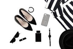 Gli accessori delle donne su superiore, alla moda, le cose delle donne di modo fotografie stock