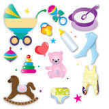 Gli accessori e l'abbigliamento del bambino Fotografie Stock