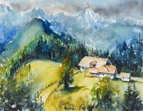 Gli acquerelli del paesaggio della montagna hanno dipinto fotografia stock libera da diritti