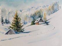 Gli acquerelli delle montagne dell'inverno hanno dipinto immagini stock