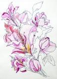 Gli acrilici grigi bianchi blu del fondo di struttura profonda di colore dell'acquerello del fiore lilly dipingono l'isolato di t illustrazione di stock