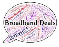 Gli affari a banda larga indica il World Wide Web e l'accordo Fotografia Stock Libera da Diritti