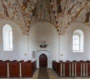 Gli affreschi della chiesa di Fanefjord spediscono la porta fotografie stock