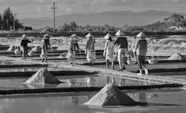 Gli agricoltori del sale del gruppo salano il carico sulle pentole del sale Fotografia Stock