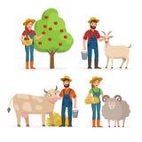 Gli agricoltori equipaggiano ed i personaggi dei cartoni animati della donna in varie pose vector le illustrazioni piane isolate  illustrazione di stock