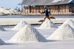 Gli agricoltori stanno raccogliendo il sale nei giacimenti del sale Immagine Stock Libera da Diritti