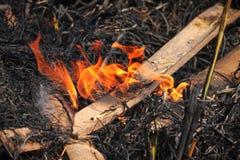 Gli agricoltori tailandesi stanno bruciando la paglia Fotografie Stock Libere da Diritti