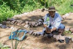 Gli agricoltori tailandesi stanno prendendo la cura di produzione agricola Fotografia Stock