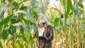 Gli agricoltori usano la tecnologia per aiutare le informazioni agricole record video d archivio