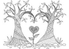 Gli alberi astratti nella linea arte di forma del cuore progettano per il libro da colorare illustrazione di stock
