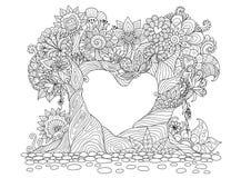 Gli alberi astratti nella linea arte di forma del cuore progettano per il libro da colorare Fotografie Stock