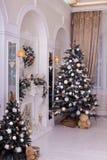 Gli alberi di Natale decorati si avvicinano agli specchi, camino Immagine Stock Libera da Diritti