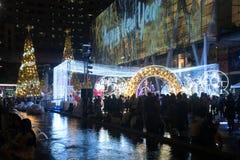 Gli alberi di Natale e della luce decorano il bei Natale e nuovo anno Immagini Stock