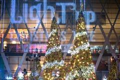 Gli alberi di Natale e della luce decorano il bei Natale e nuovo anno Fotografie Stock Libere da Diritti