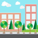 Gli alberi di scena della via della città che costruiscono la strada del cielo si appanna Immagine Stock