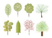 Gli alberi di vettore hanno fissato i colori che differenti di stili le forme hanno isolato il fondo bianco Fotografia Stock