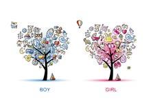 Gli alberi a forma di cuore progettano per il neonato e la ragazza Fotografia Stock