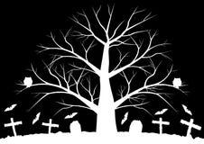 Gli alberi morti con batsHalloween il fondo con i pipistrelli ed i colori morti degli alberi in bianco e nero Immagini Stock