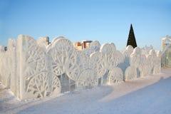 Gli alberi murano nella città del ghiaccio Fotografie Stock Libere da Diritti