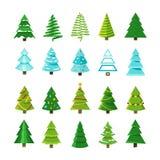 Gli alberi piani dell'inverno di natale con la decorazione festiva di natale vector la raccolta Fotografia Stock Libera da Diritti