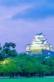 Gli alberi porpora del cielo del tramonto del castello di Himeji Jo si avvicinano alla V Immagine Stock
