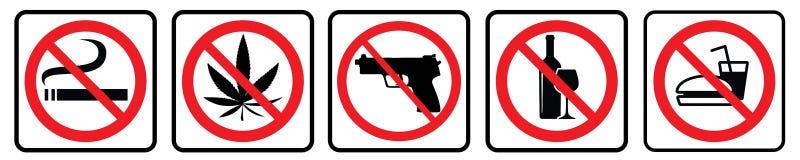 Gli alimenti non hanno permesso il segno, nessun disegno della raccolta del segno di segno-proibizione dell'alcool tramite l'illu royalty illustrazione gratis