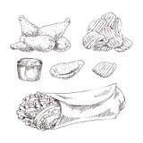 Gli alimenti a rapida preparazione hanno fissato lo schizzo monocromatico di vettore disegnato a mano royalty illustrazione gratis