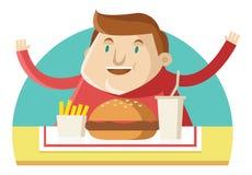 Gli alimenti a rapida preparazione mangiatori di uomini grassi Immagini Stock