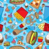 Gli alimenti a rapida preparazione molti possono mangiare il reticolo senza giunte Fotografie Stock Libere da Diritti